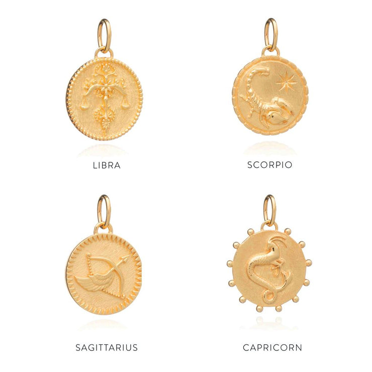 Rachel Jackson Zodiac Art Coin Necklace - Capricorn - Gold