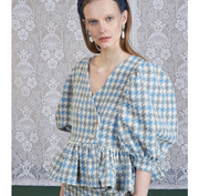 Sister Jane DREAM Weave Away Tweed Checked Peplum Top