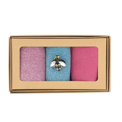 Sixton Florence Glitter Sock Box With Bee Pin