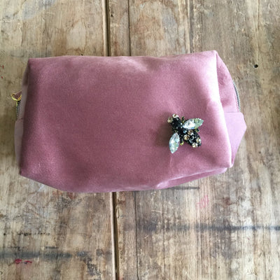 Sixton Large Make-up Bag with Bee Pin in Dusky Pink