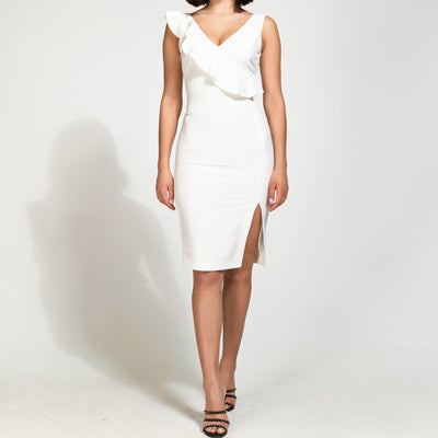 Access Fashion Felicity Ruffle Dress in White