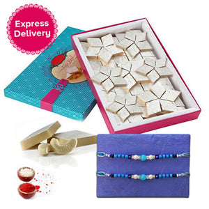 Rakhi Set With Kaju Katli