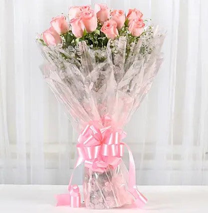 One Dozen Pink Roses Bouquet - Send Flowers Online