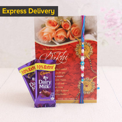 Designer Rakhi With Dairy Milk Combo