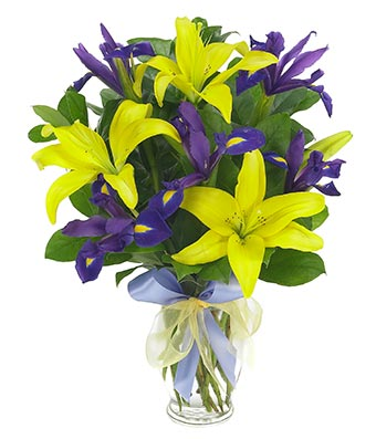 Bright Lily and Iris Bouquet