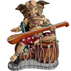Adorable GANESHA IDOL PLAYING Sitar Musical Instrument for HOME DECOR