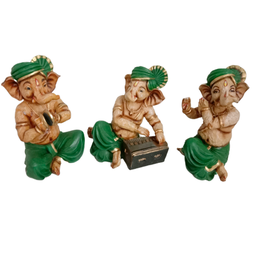 Adorable Set of Musical Instruments Playing Ganesha Statues Murti