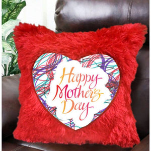 Red Heart Fur Cushion