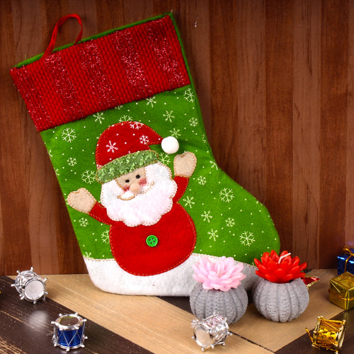 SANTA STOCKING WITH FLORAL CANDLES