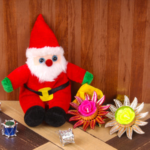 SANTA SOFT TOY WITH PAIR OF CANDLES