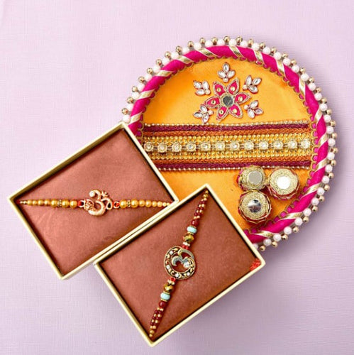 Om Rakhi With Pooja Thali