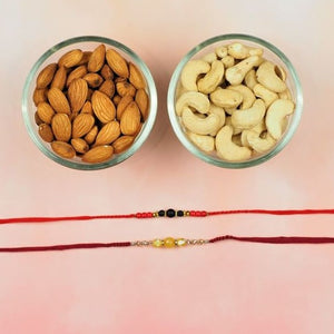 Lava Stone & Yellow Agate Rakhi with Dry Fruits
