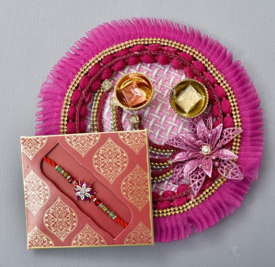 Floral Rakhi With Fancy Puja Thali