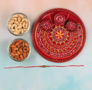 Sandalwood Rakhi with Pooja Thali & Dry Fruits