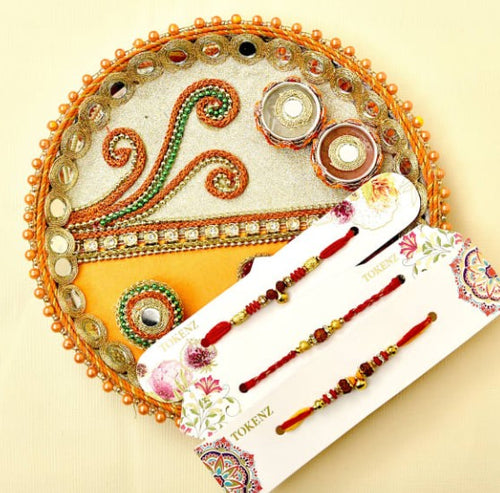 Three Rudraksha Rakhi With Puja Thali