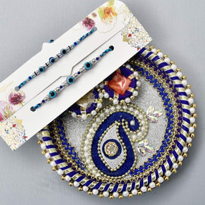 Evil Eye Blue Gota Work Puja Thali