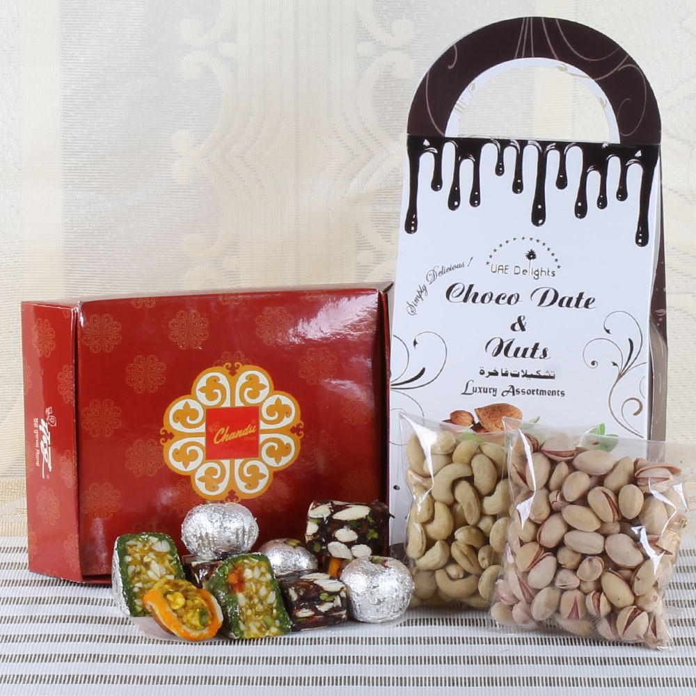 SWEETS AND DRY FRUIT WITH CHOCOLATE