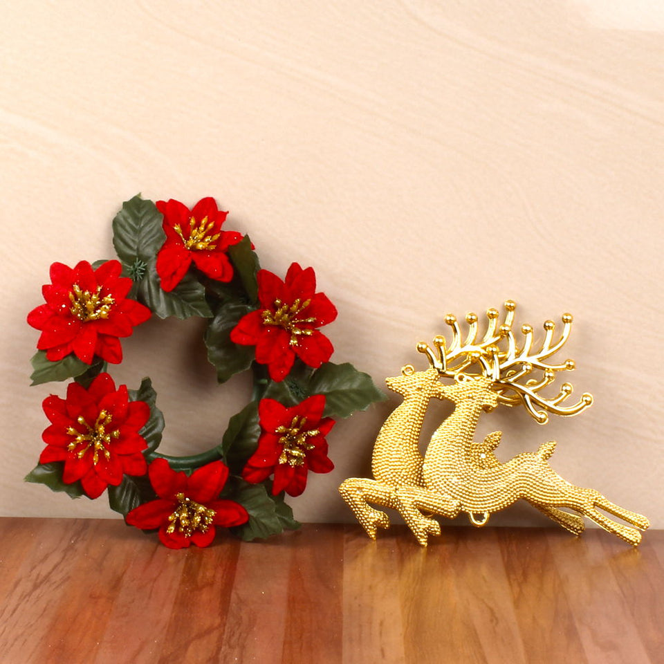 DECOR CONTAINING FLORAL WREATH AND REINDEER