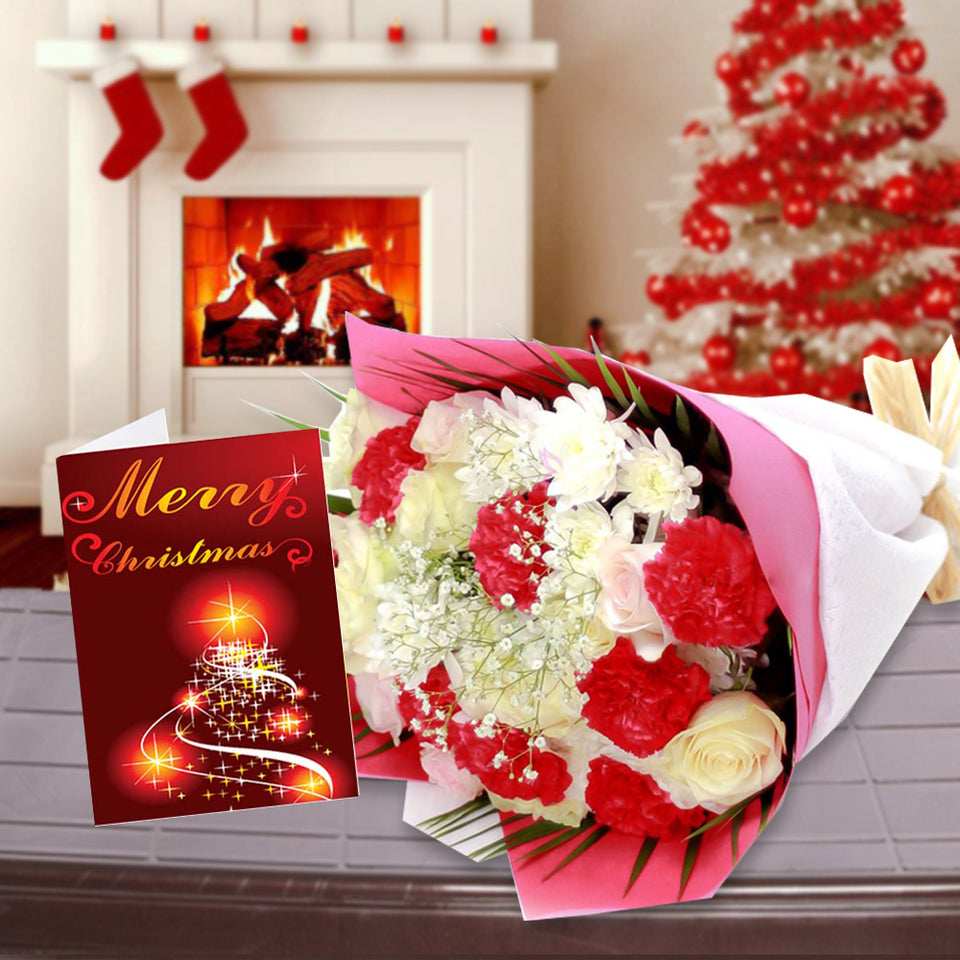 FLOWERS BOUQUET AND CHRISTMAS CARD COMBO FOR CHRISTMAS