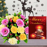 MIX FLOWERS BOUQUET WITH MERRY CHRISTMAS GREETING CARD