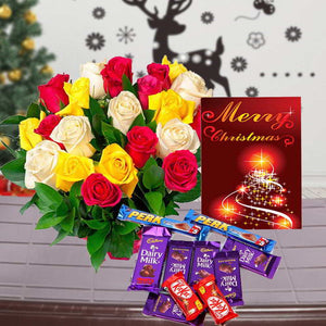 CHRISTMAS CARD AND MIX ROSES BOUQUET