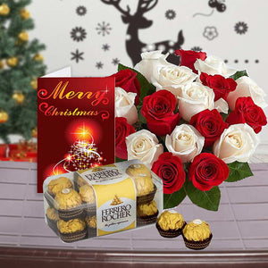 ROSES WITH  CHOCOLATE AND CHRISTMAS GREETING CARD