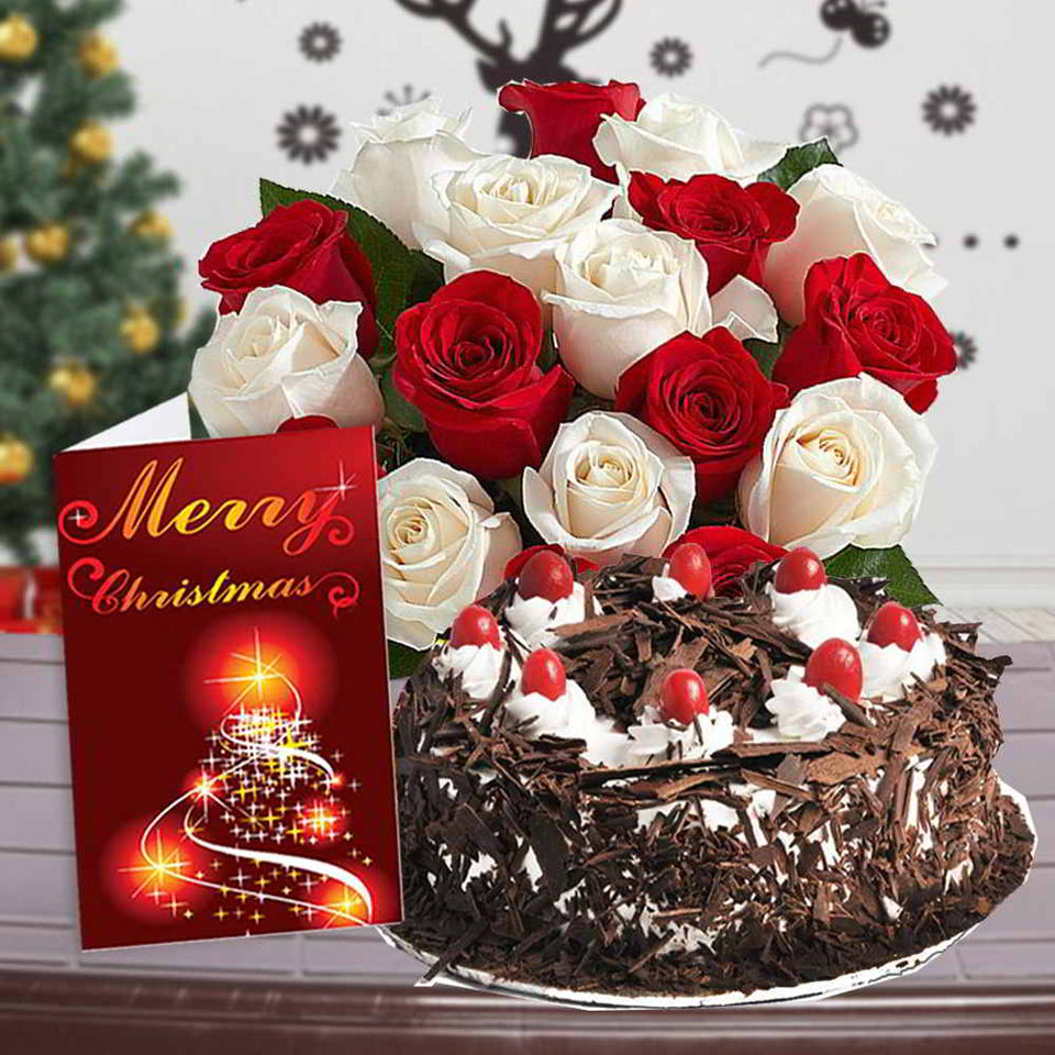 ROSES BOUQUET WITH BLACK FOREST CAKE