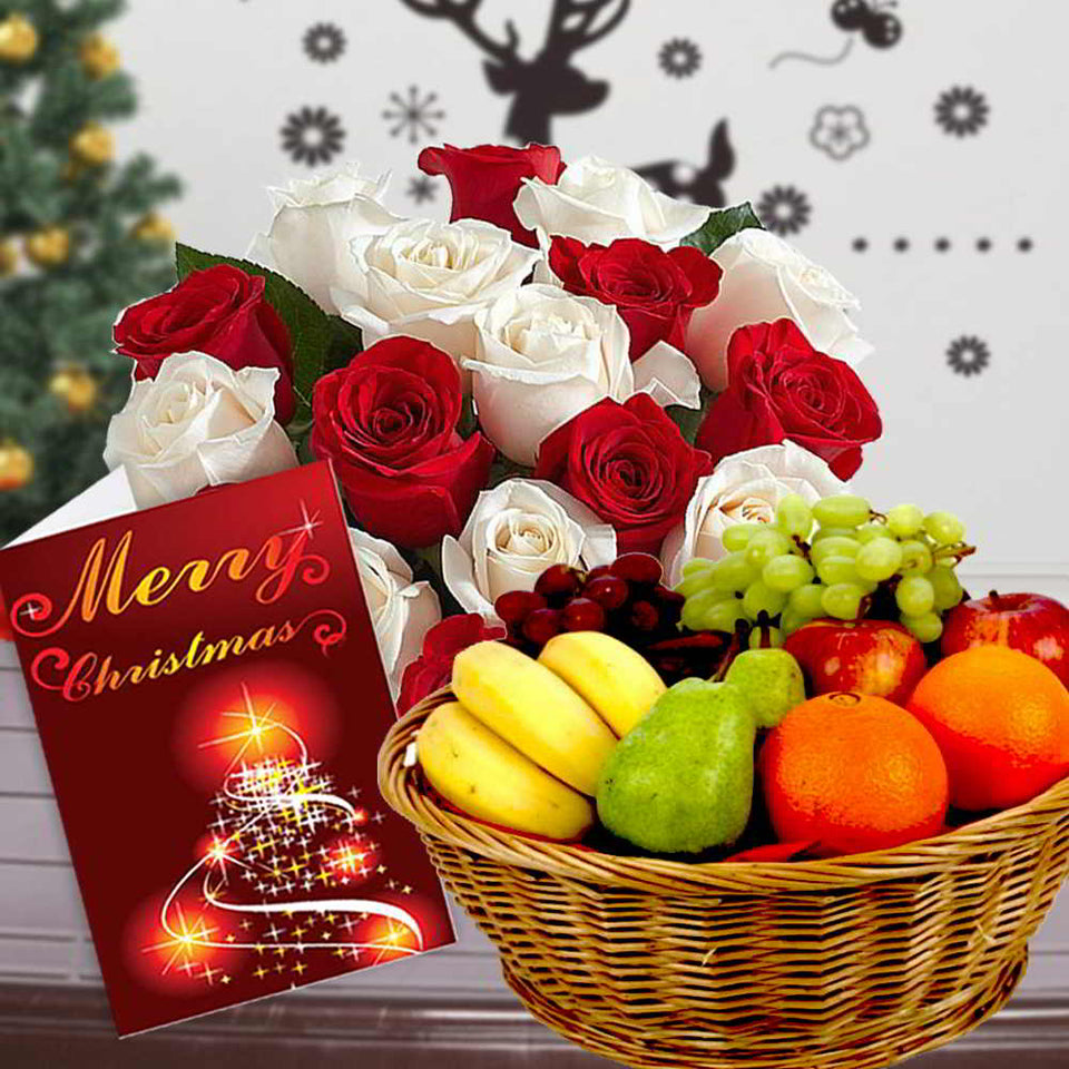 MIX ROSES BOUQUET WITH FRUITS BASKET
