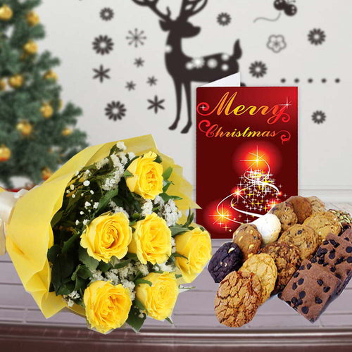 YELLOW ROSES ASSORTED COOKIES AND CHRISTMAS CARD