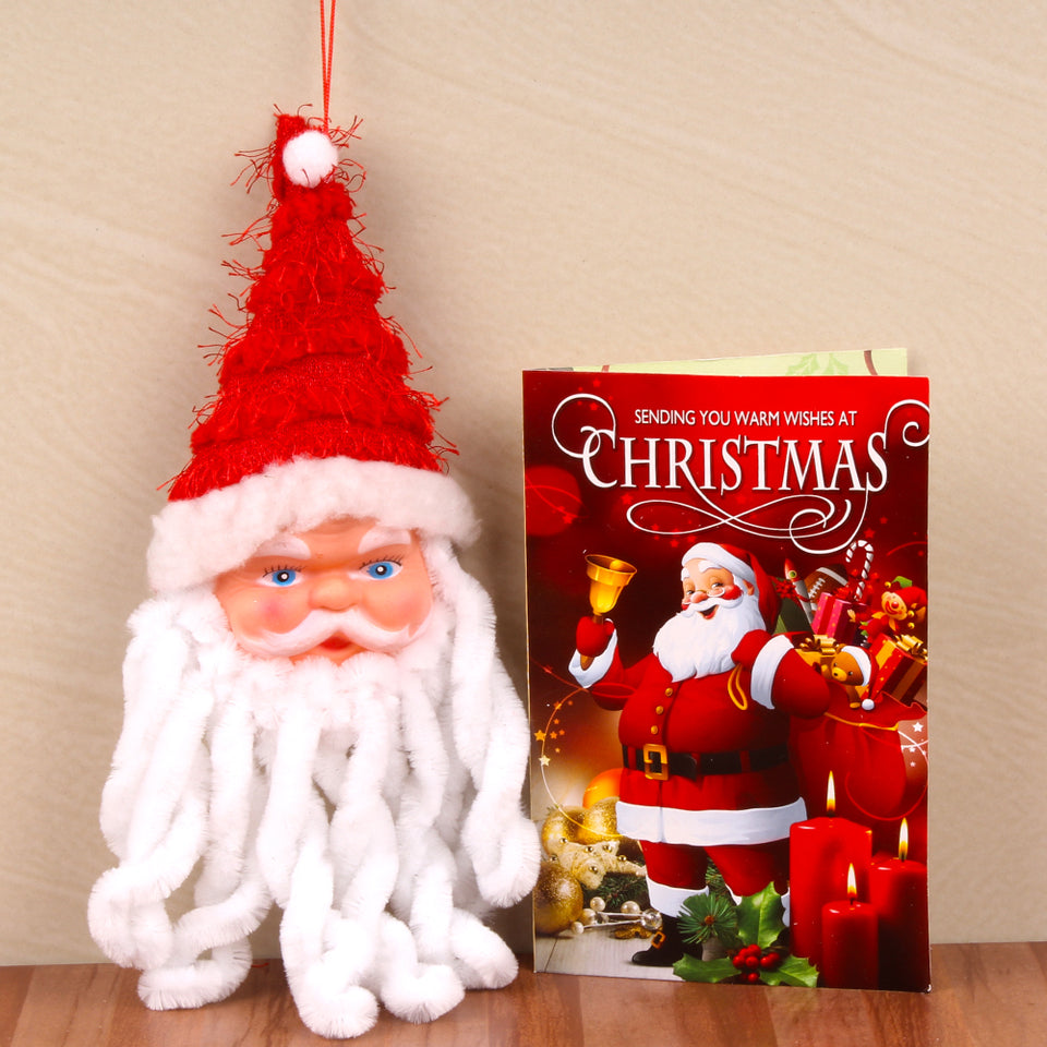 SANTA CLAUS FACE WITH CHRISTMAS GREETING CARD