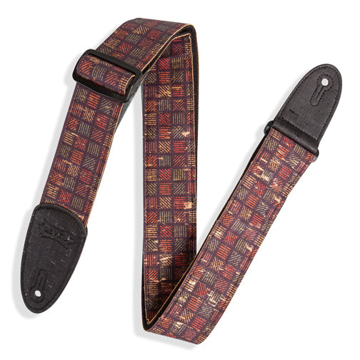 Levy's Specialty Series Orleans Cork Guitar Strap Black, Red, Navy, Gold MX8-004