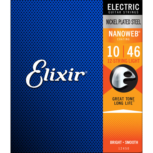 Elixir Electric Nickel Plated Steel Nanoweb 12 String Light .010-.046