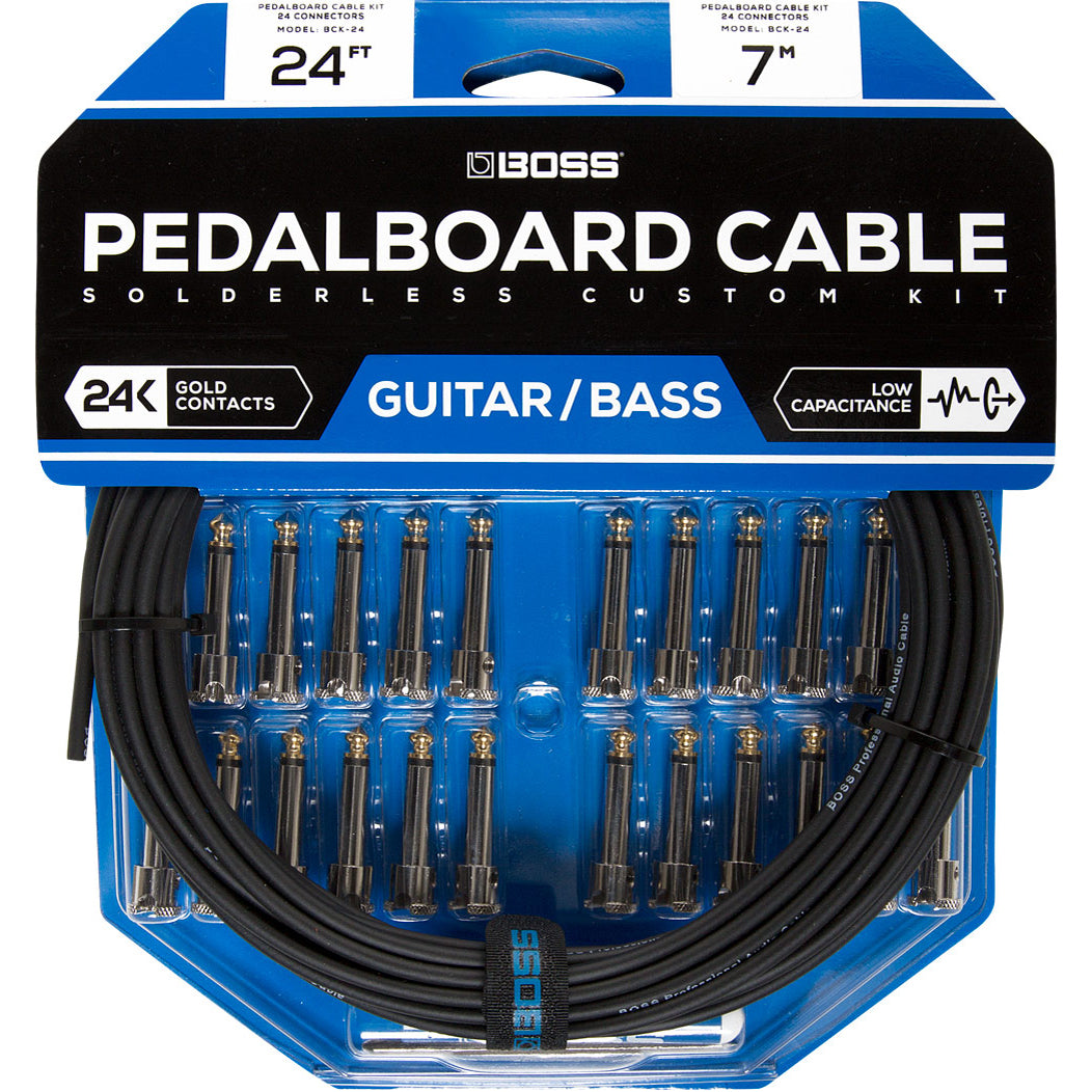 Boss Pedalboard Cable Kit, 24 Connectors, 24ft/7.3m Cable BCK-24