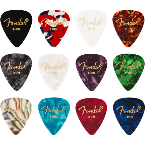 Fender 351 Celluloid 12 Pick Pack Medley Thin