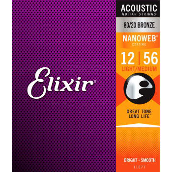 Elixir Acoustic 80/20 Bronze Nanoweb Light/Medium .012-.056 EL-11077