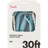 Fender Original Series Coil Cable Straight-Angle 30' Daphne Blue