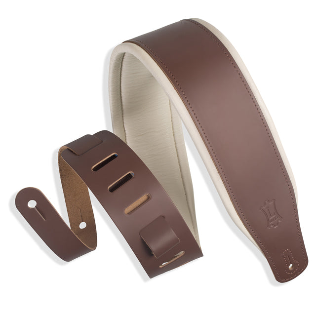 Levy's Favorite Padded Two-Tone Leather Brown Cream 3 Guitar Strap M26PD-BRN_CRM