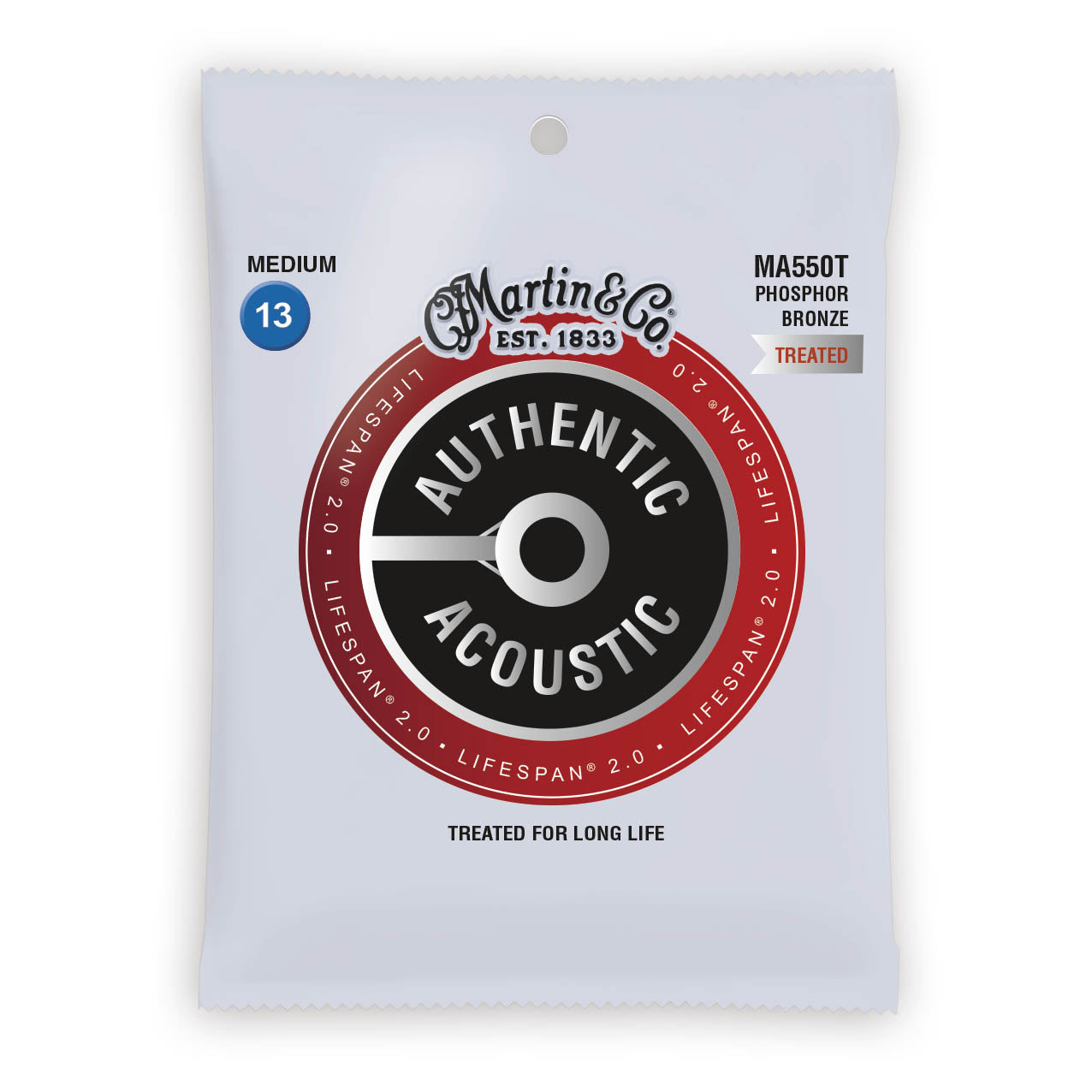 Martin Authentic Acoustic Strings Lifespan Treated Phosphor Medium 13-56 MA550T