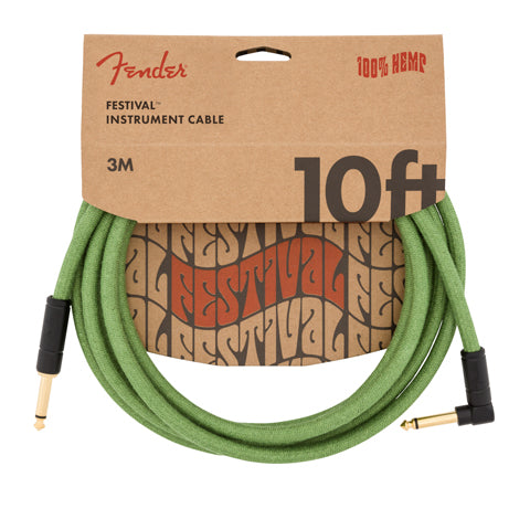 Fender Angled Festival Hemp Instrument Cable 10' Pure Hemp Green
