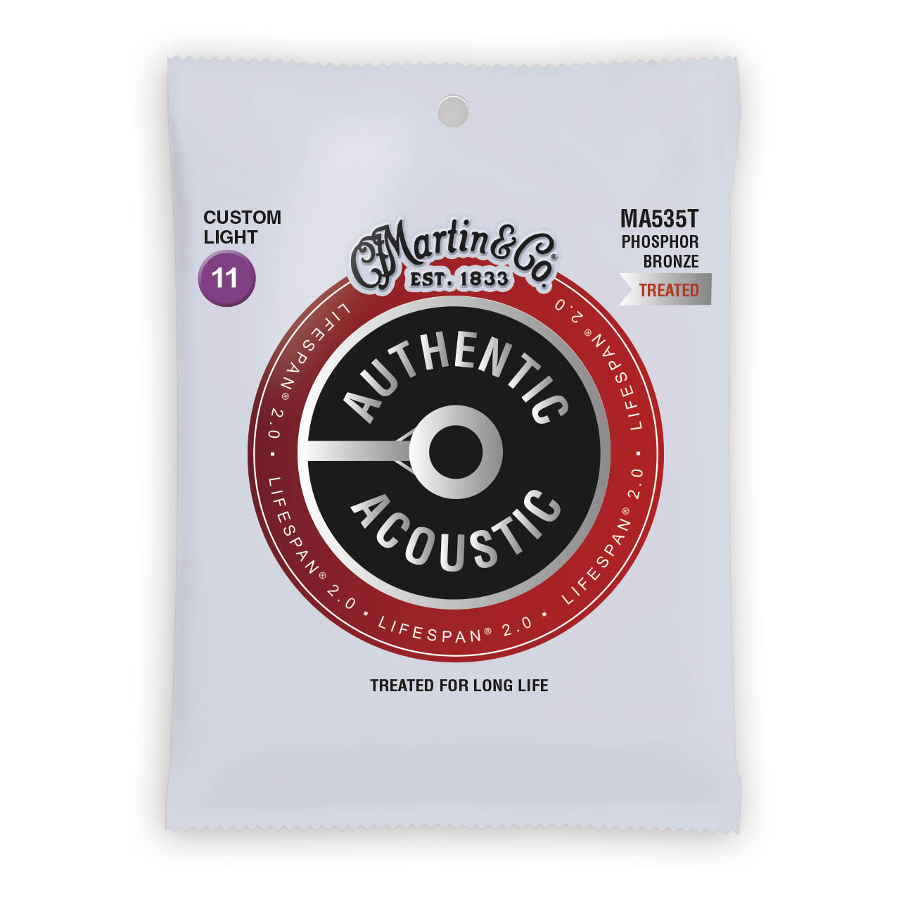 Martin Authentic Acoustic Strings Lifespan Treated Phosphor Custom Light 11-52 MA535T
