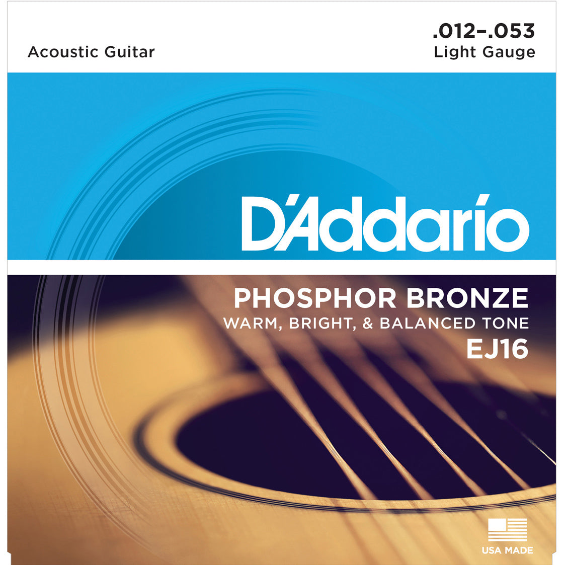 D'Addario EJ16 Phosphor Bronze Light Acoustic Strings 3-Pack
