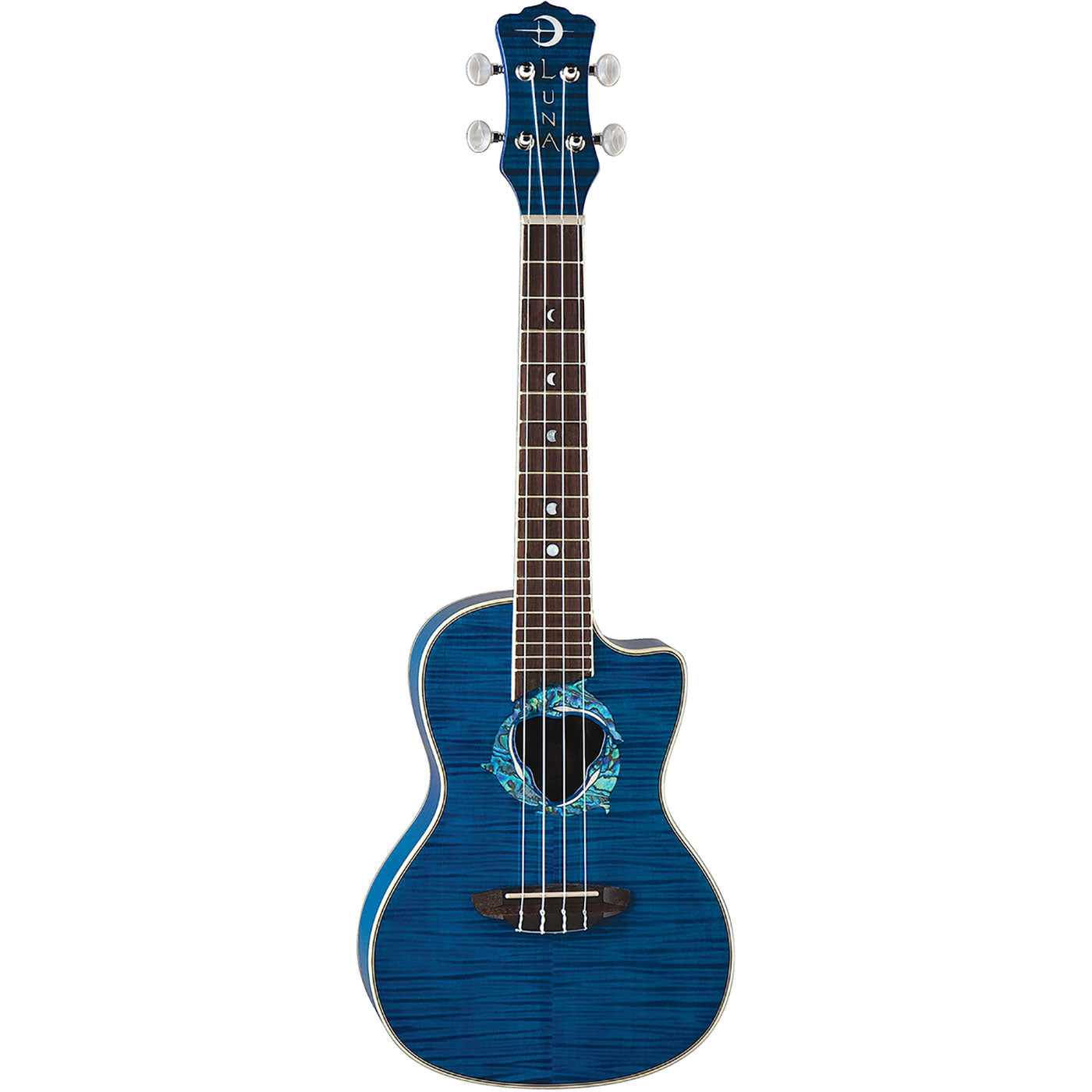 Luna Dolphin Ukulele Flame Top Concert Trans Blue w/Preamp