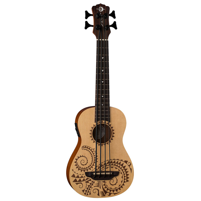 Luna Ukulele Bari-Bass Mahogany Tattoo W/Preamp and Gigbag