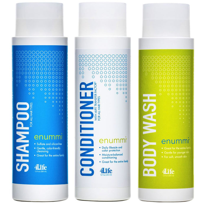enummi natural shampoo and conditioner and body wash