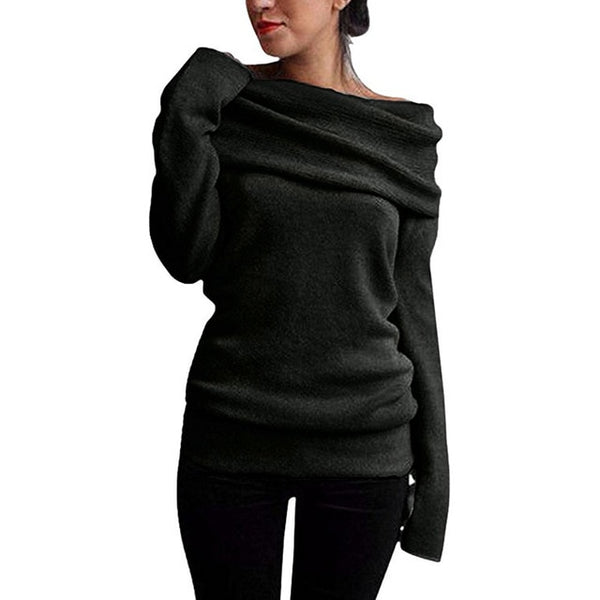 Off Shoulder Sweater Cowl Neck Long Sleeve Knit Pullover