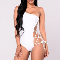 Sexy Lace up One Shoulder Swimsuit