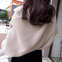 Long Sleeve Knitted Wrap Shawl