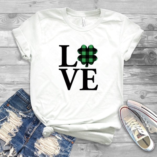 St Patricks Day T-Shirt Womens Shamrock Love