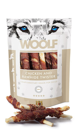WOOLF CHICKEN&RAWHIDE TWISTER 100GR