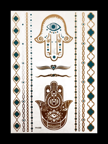 Temporary Flash Tattoos - Third Eye (Metallic Gold, Silver & Teal)-Accessories-WonkiWear